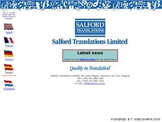 The old Salford Translations Ltd website