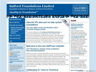 The new website design for translation vendor Salford Transaltions Ltd